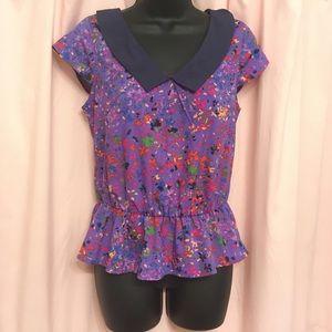 Jessica Simpson collared colorful purple blouse
